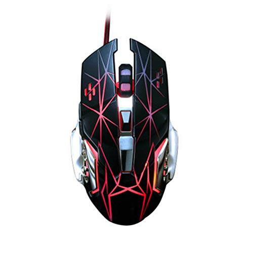 RGB Wired Gaming Mouse 4 DPI-Einstellungen bis zu 3200 DPI, USB Wired Mouse Ergonomische optische Computer-Maus mit LED-Licht,Schwarz