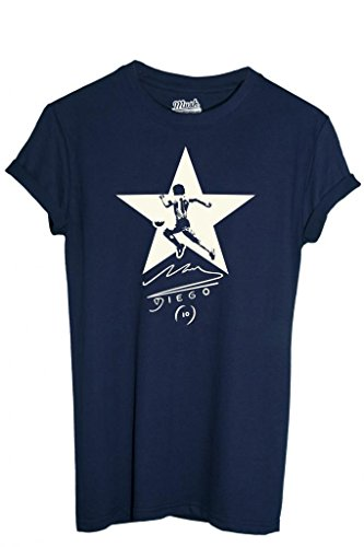 MUSH T-Shirt Maradona - Deporte by Dress Your Style - Hombre-L Azul Oscuro