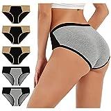 Dasongff Calzoncillos de mujer de cintura alta, de algodón, paquete múltiple, sexy, hipster, cómodos, tangas, bragas de cintura, abdomen, paquete de 5 unidades