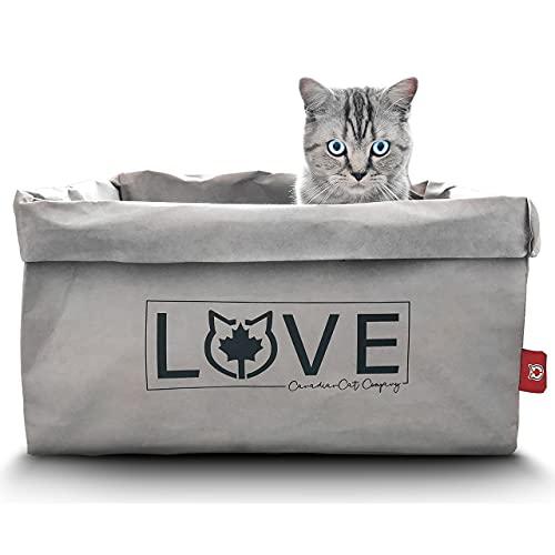 CanadianCat Company ® | Katzenbett 45 x 35 x 35 cm - Kuschelbett, Bettchen für alle Katzen die Pappe und Papier lieben