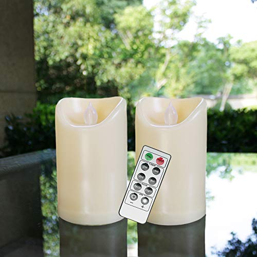 """Flameless Outdoor Waterproof LED Pillar Candle with Remote Timer Battery Operated Flickering Resin Candle Light for Halloween Christmas Wedding Party Centerpiece Decorations Supplies 3""""x 5"""" 2-Pack"""