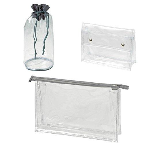 HALFAR - Lot 3 trousses de toilette transparentes différentes - 1 pochette zippée - 1 pochette pressions - 1 pochette baluchon