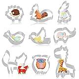 FHzytg 9 Stück Wald Tier Ausstecher Set Fondant Brot Ausstechformen für Kinder