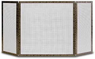 Pilgrim Pilgrim Home and Hearth 18237 Bay Branch Embossed Tri Panel Fireplace Screen, Burnished Bronze, 18237, Burnished B...