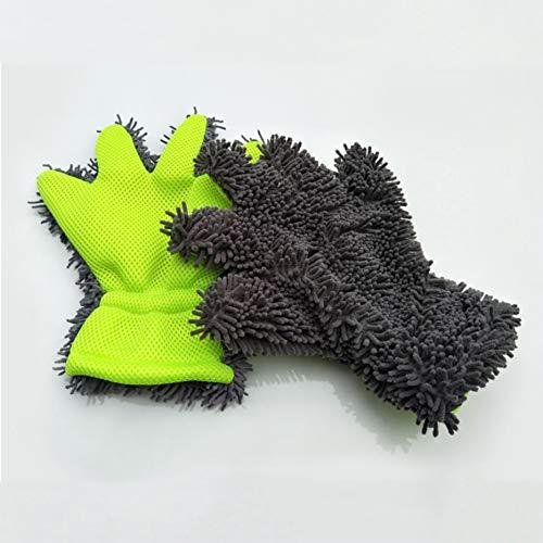 YSHtanj washandschoen auto schoonmaken en onderhoud schoonmaken gereedschap auto zorg handschoen schoonmaken gereedschap venster deur Chenille koraal vorm zachte wasmachine - groen + grijs