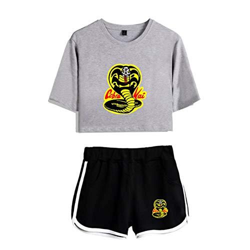 JDSWAN Mujer Cobra Kai 2 Piezas Conjunto de Chándal Niño del Karate Cobra Impreso Manga Corta Crop Tops Camiseta + Pantalones Cortos Deportivos Trajes Pijama Verano