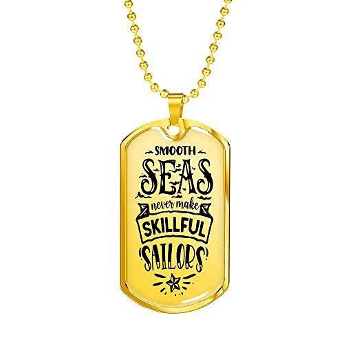 Skillfull Sailors Collar cristiano, etiqueta de perro de acero inoxidable o acabado en oro de 18 quilates
