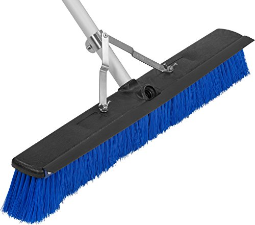 "Carlisle 3621962414 Sweep Complete Aluminum Handle Floor Sweep with Squeegee, Plastic Bristles, 24"" Length, 3"" Bristle Trim, Blue"