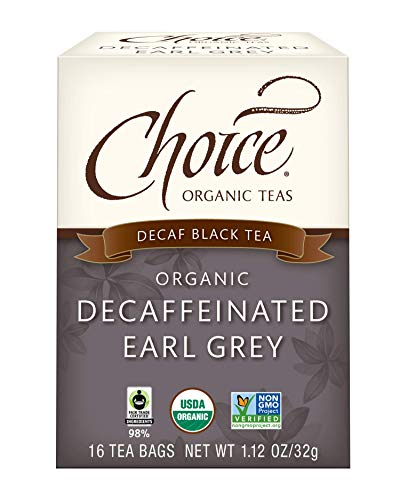 Choice Organic Teas - Decaffeinated Earl Grey Tea - Organic Decaffeinated Black Tea - 6 Pack, 96 Tea Bags Total