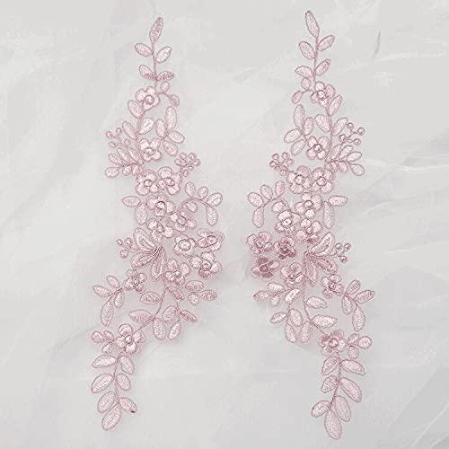 baidicheng 5 pares de encaje con patrón de hojas de encaje en blanco apagado con plata rosa verde cordón bordado apliques de encaje DIY (color: rosa frijol)