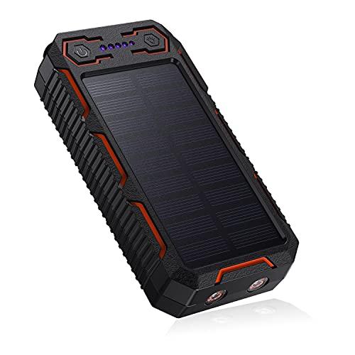Power Bank Solare 26800mAh, Caricatore Solare Portatile, iImpermeabile, A Prova di Caduta, 4 Porte e 2 LED di Emergenza, Adatto per Smartphone, Tablet e Altri.