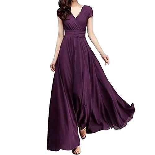 YAYAKI Freizeit Kleider Damen Elegant V-Ausschnitt Kurzarm Einfarbig Kleid Bequem Chiffon Maxikleid Saum Baggy Strandkleider Böhmen Mode Partykleid Große Größen S-5XL(Gr.34~48)(B-Lila,4XL)