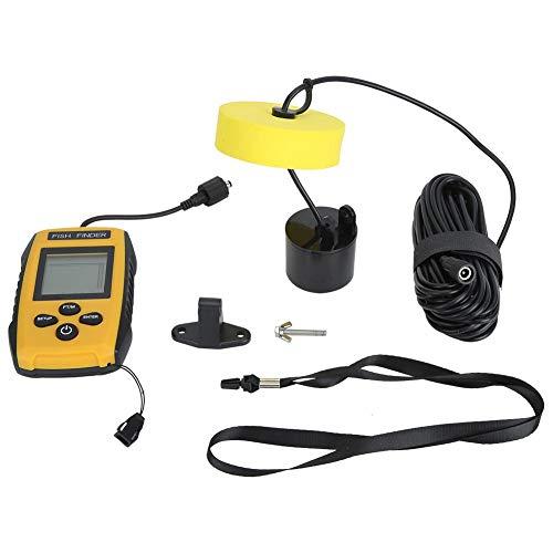 Fischfinder, tragbarer LCD-Ultraschall-Unterwasserfisch-Tiefenmesser Fischdetektor Sensor Boot Fischfinder 73,2 m Tiefe mit 5 einstellbaren Empfindlichkeitseinstellungen