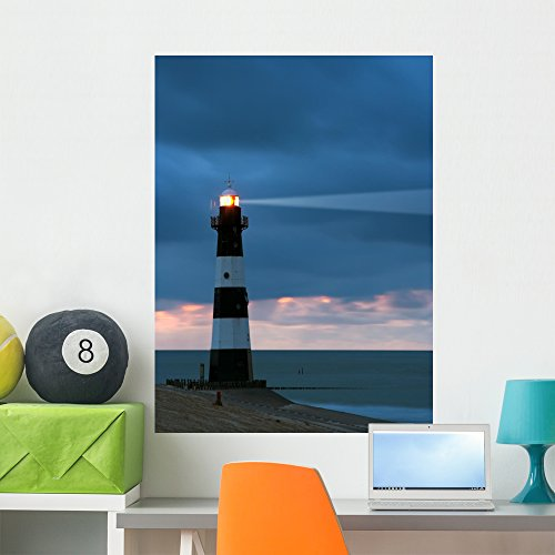 Wallmonkeys WM1885 Lighthouse in The Dusk Peel and Stick Wall Decals (36 in H x 27 in W), Large