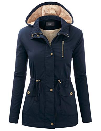 FASHION BOOMY Women's Zip Up Safari Military Anorak Jacket with Hood Drawstring - Regular and Plus Sizes Small G-Navy