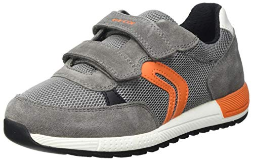 Geox J ALBEN Boy A Sneaker, Grey/ORANGE, 29 EU