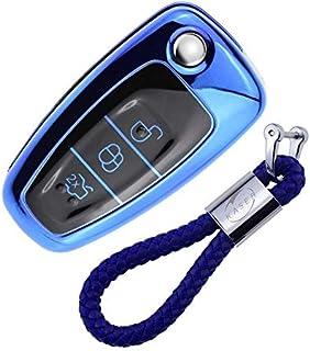 kaser Autoschlüssel Hülle für Ford – Cover TPU Silikon Hochglanz Schutzhülle Schlüsselhülle für Ford Fiesta Focus Galaxy Fusion Mondeo C Max Kuga Ecosport (Blau)