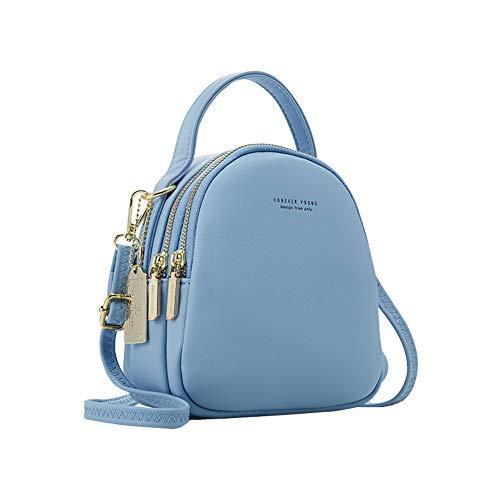 Katech Mode Rucksack Damen Kleine Handy Schultertasche Lederrucksack Frauen Klein Handtasche Mini Casual Daypacks für Party/Reisen/Arbeit (Blau)