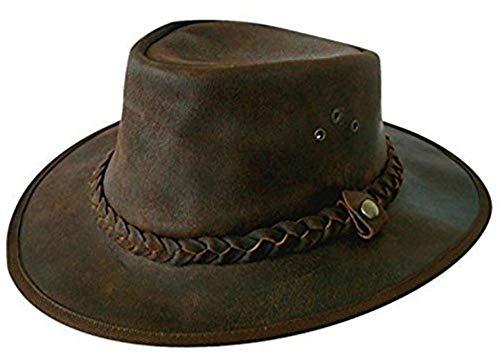 Cotswold Country Hats Chapeau de Pays Explorer en Cuir Marron et Cuir de Brousse Comprend Une jugulaire Amovible en Cuir (S - 55cm)