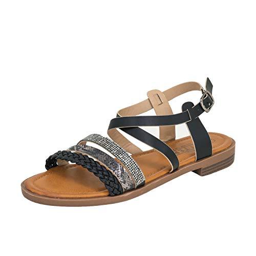 Fitters Footwear That Fits Damen Sandale Michelle PU Sandale mit Schnallen und geflochtenen Riemchen Übergröße (42 EU, schwarz)