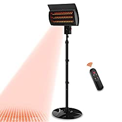 PATIOBOSS Electric Outdoor Patio Heater, Standing/Wall Mounted Infrared Space Heater 3 Power Modes with Remote Control and 12-Hour Timer Quiet Water-Resistant for Indoor/Outdoor Use Garage Porch