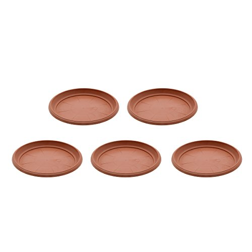 Saim Coffee Plastic Round Saucers Plant Pot Saucers Potted Plant Saucer Clay Plant Saucer Flower Plant Pot Saucer Pallet Trays for Indoor & Outdoor Plants,8.9-Inch Diameter,Pack of 5