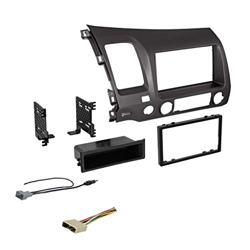 Double DIN Dash Kit for 2006-2011 Honda Civic with Antenna Adapter & Harness… (Dark Metallic)   Compatible with All Trim Levels