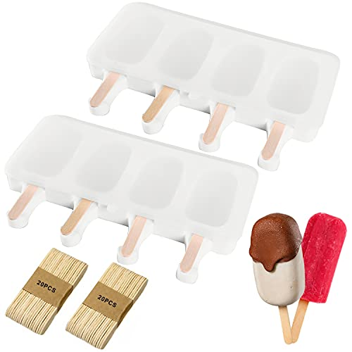Xnuoyo Molde de Helado, molde de helados de silicona con tapa, Molde de para paletas, 2PCS Moldes para Helados DIY Niños, Adultos Helado Stick Chocolate Postre congelado (Con 40 Palos Madera)