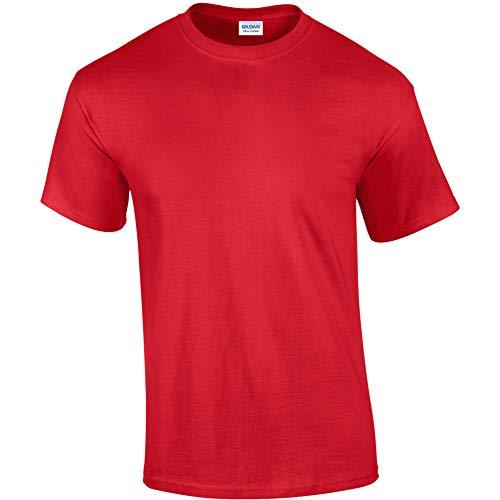 Gildan - Camiseta básica de manga corta Modelo Heavy Cotton para hombre - 100% algodón gordo (Extra Grande (XL)/Rojo)