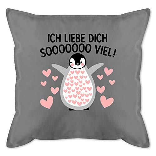 Shirtracer Valentinstag Kissen - Ich Liebe Dich Soooo viel! mit Pinguin - Unisize - Grau Kissen - GURLI Kissen mit Füllung - Kissen 50x50 cm und Dekokissen mit Füllung