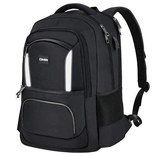 Travel Laptop Backpack Men - Work Backpack for Women, 15.6 Inch Business Rucksack with USB Charging Port, MIMIDI School Bookbag for College Student, Black