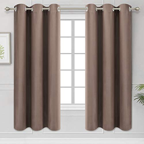 Diraysid Cappuccino Grommet Blackout Curtains for Bedroom Thermal Insulated Room Darkening Curtains Drapes, W42 x L63, 2 Panels