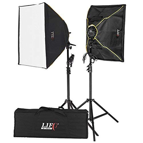 Luce continua per studi fotografici set luce naturale LIFE OF PHOTO 1200W ES-430 con 8x lampadine (Macchina Fotografica)