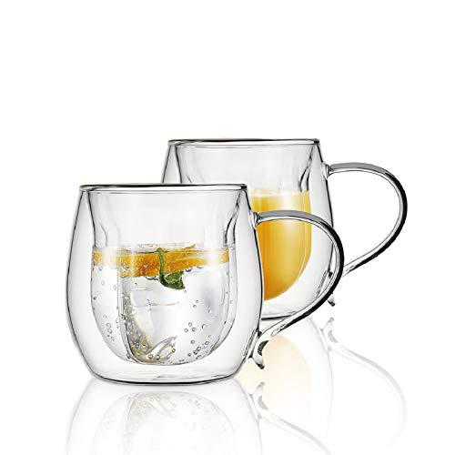 VKCHEF ダブルウォール グラス カップ 230ml 二重構造 耐熱ガラス マグカップ 透明 花の形 コーヒーカップ グラスコップ ティーカップ タンブラー おしゃれ 保温 保冷 アイスコーヒー ホットワイン お酒 お茶 グラス 取っ手付 2個セット