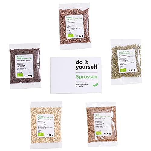 Foodist Sprossen Samen Mix für Keimglas - Nachfüllpack Saatgut-Mix 5 x Gemüse Bio-Samen mit Alfalfa -, Brokkoli -, Mungobohnen -, Rettich - und Quinoasamen mit kleinem Sprossenzucht Buch und Rezepten