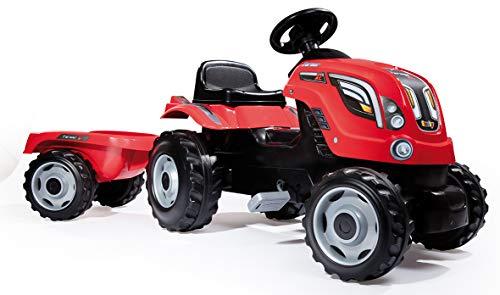 Tractor Farmer XL rojo a pedales con remolque (Smoby 710108)