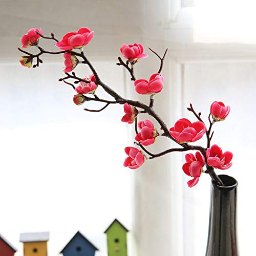 TDlmfRDi Las Flores de Seda Artificial Japón Ciruela Flores de Cerezo Flores Flores Ramas de los árboles de Bodas Sala de Inicio Decorationation Rojos