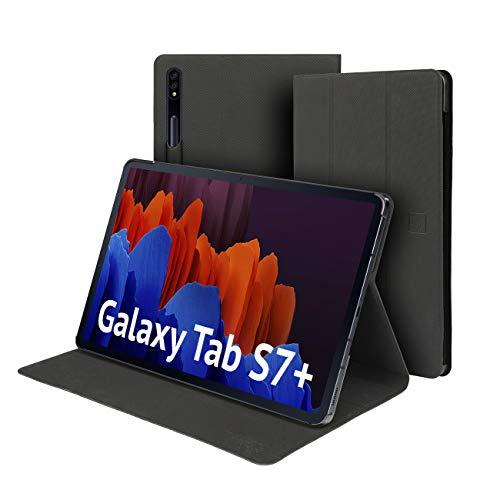 Funda para Tablet compatible con Tab S7+ Plus 12.4' 2020 Ultra Delgada Funda, Rio Cover Frontal, Soporte para Lápiz integrado, Soporte para Lectura y Escribir, Trabajo en casa, Estudio
