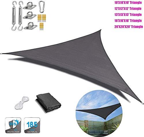Toldo toldo triangular de Beirich con kit de herramientas para patio (negro), toldo triángulo de vela triángulo, toldo triángulo, vela UV, sombrilla, agua y aire permeable, 20'X20'X20'(6mX6mX6m)