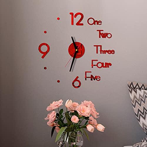Reloj de Pared Creativo de Bricolaje,Diseño Moderno Decorativo 3D AcríLico Espejo Superficie Pegatina Hogar Sala de Estar Decoración de Oficina Relojes de Pared