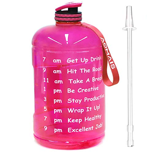 Aomais Gallon Water Bottle with Motivational Time Marker, Large 128 oz, Leak-Proof, Wide Mouth, BPA Free Water Bottles for Sports Gym Fitness Work(1 Gallon, Pink)