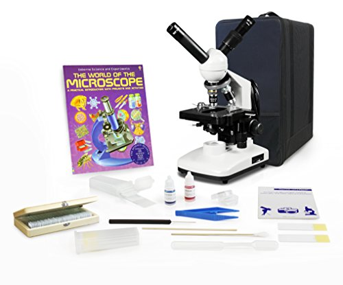 Vision Scientific VME0015-CXT-100-LD-P3 Dual View Compound Microscope, LED Light, Mechanical Stage, Microscope Book, Microscope Discovery Kit, 50 Prepared Slides Set, Microscope Carrying Case