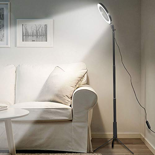 LED-vloerlamp USB-ring vloer licht statief ringvormige 80 LED's staande lamp voor video YouTubefoto ringlicht make-up lampshade