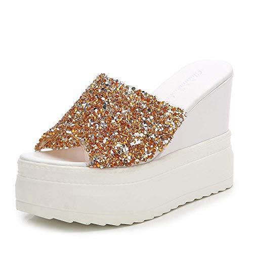 Zapatos suave Único piscina Cuarto de baño, zapatos de tacón alto de la plataforma de lentejuelas, sandalias de cuña y zapatillas con diamantes de imitación-gold_37, unisex deslizador abierto sandalia