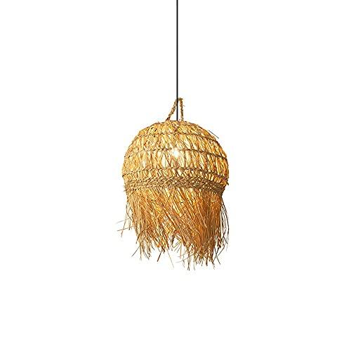 XCY Iluminación Decorativa, Industrial Vintage Bamboo Art Chandelier Estilo Chino Restaurante Decoración Colgante Iluminación País Creativo Nostálgico Droplight Hogar Lámparas de Arte de Ratán Tejida