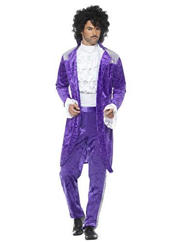 """Smiffy's Smiffys-48004XL Disfraz de Músico Púrpura años 80, con Chaqueta, Camisa figurada y Pant, Color, XL-Tamaño 46""""-48"""" 48004XL"""