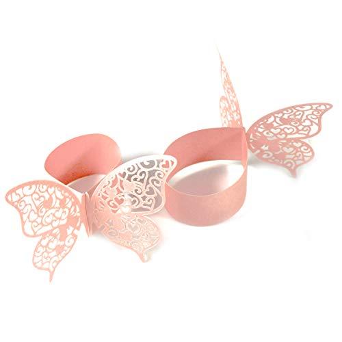 Dokpav 50 Stück Schmetterling Papier Serviettenring für Hochzeit, Taufe, Kommunion, Graduierung, Geburtstag, Weihnachten, bankett Party Tischdekoration (Rosa)