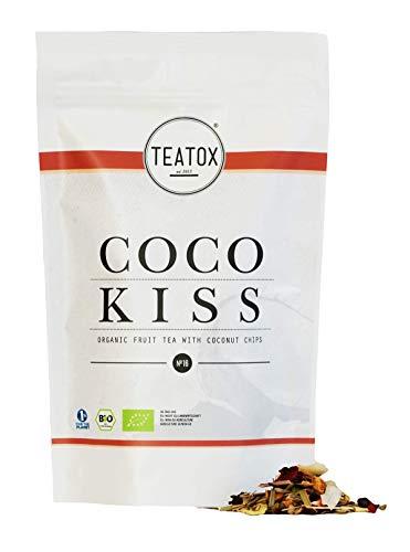 TEATOX Coco Kiss 100% natürlicher Bio Früchtetee mit Kokoschips, Apfel und Hibiskus 70g loser Tee hochqualitativer Grobschnitt