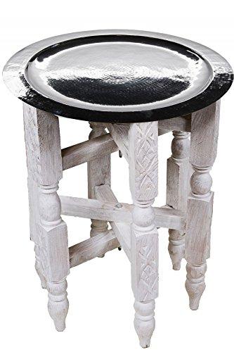 Marrakesch Orient Mediterran Interior Landhaus Tisch Couchtisch Klappbar Habil - Silberfarbig 40cm
