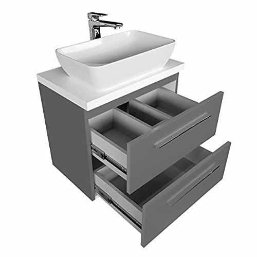 Mobili da bagno con ripiano e lavabo da appoggio, set siciliy, armadietto da bagno, cassettiera (grafite, 50 cm)